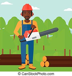 Lumberjack with chainsaw - An african-american lumberjack...