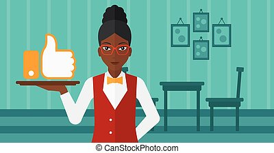 Waitress with like button - An african-american waitress...