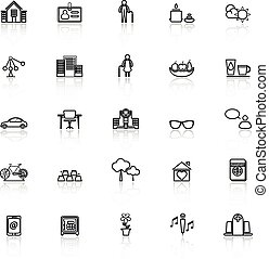 Retirement community line icons with reflect on white, stock...