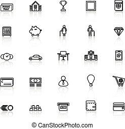 Personal financial line icons with reflect on white, stock...