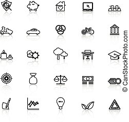 Sufficient economy line icons with reflect on white, stock...