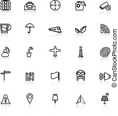 Map sign line icons with reflect on white, stock vector