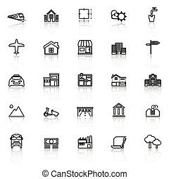 Real estate line icons with reflect on white, stock vector