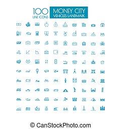 100 icons Business Travel landmark and public transportation