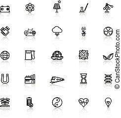 Renewable energy line icons with reflect on white, stock...