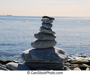 Stone pillar - A tower of stones on the coast