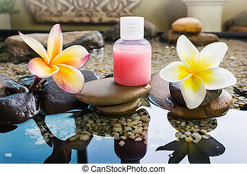 Mini set of bubble bath and shower gel decorated in zen...