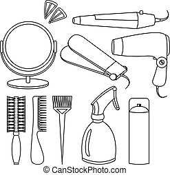 Hair accessories and barber tools line icons - Hair...