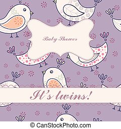 Birds baby shower twins vintage