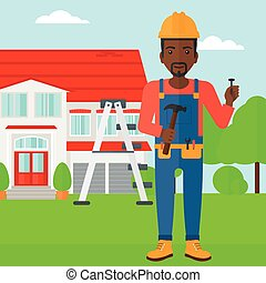 Cheerful repairer engineer - An african-american man in...