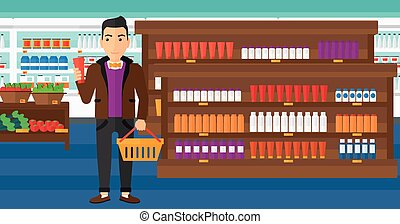 Customer with shopping basket and tube of cream. - A man...