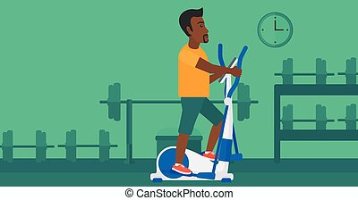Man making exercises - An african-american man exercising on...