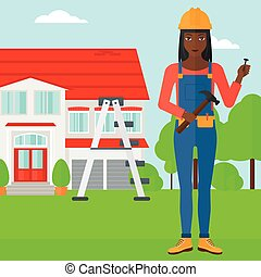 Cheerful repairer engineer - An african-american woman in...