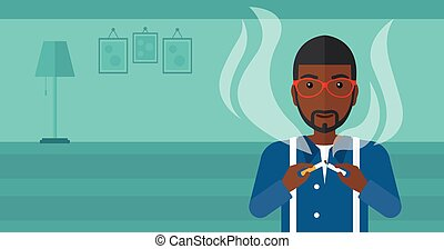 Man quit smoking - An african-american man breaking the...