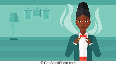 Woman quit smoking - An african-american woman breaking the...