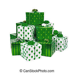 heap of gifts - heap of green box gifts isolated on white