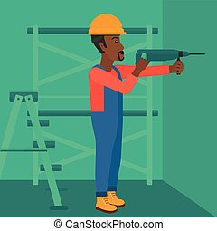 Constructor with perforator. - An african-american man...