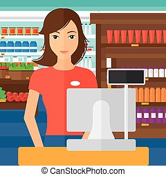 Clipart Vector of Saleslady standing at checkout. - An asian ...