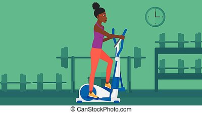 Woman making exercises - An african-american woman...