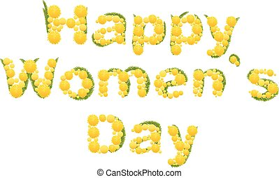 Happy womens day. Yellow mimosa flower. Acacia flower symbol...