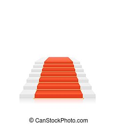 Red carpet on white stairs