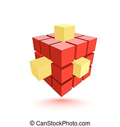 Abstract red cube with yellow elements. Business concept....