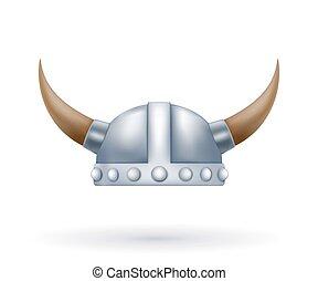 Metal viking helmet with horns