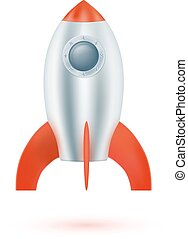 Space rocket on a white background.