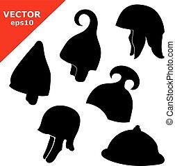 set of black antique helmet - A set of black antique...