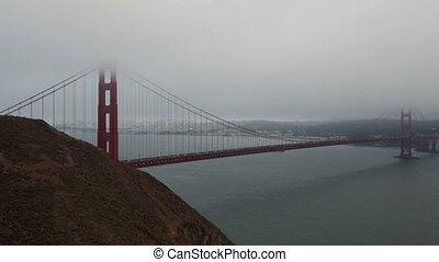 4K Time lapse Golden Gate Bridge with fog
