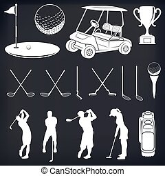 Golf Player Silhouette . Set of vintage golf labels