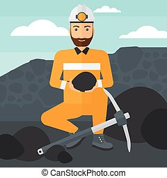 Miner holding coal in hands. - A hipster man sitting with...