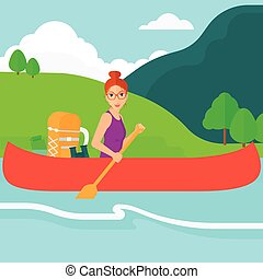 Woman canoeing on the river - A woman canoeing on the river...