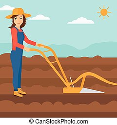 Farmer on the field with plough. - A woman using a plough on...