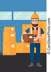 Worker checking barcode on box. - A man checking barcode of...