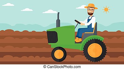 Farmer driving tractor - A hipster man with the beard...