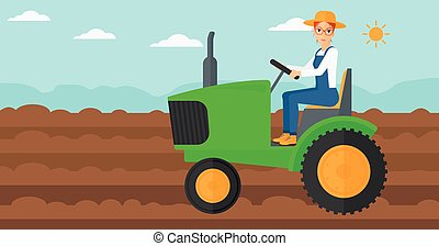 Farmer driving tractor - A woman driving a tractor on a...