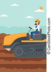 Farmer driving catepillar tractor. - A woman driving a...