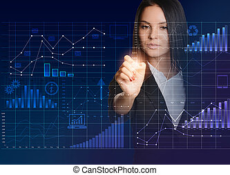 Woman drawing on chart in virtual technology space