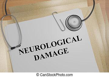 Neurological Damage concept - Render illustration of...