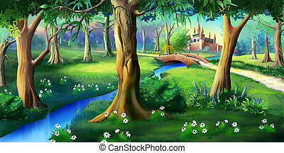 Magic Forest Around the Castle - Digital painting of the...