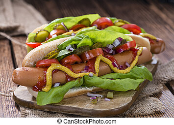 Hot Dog with fresh vegetables