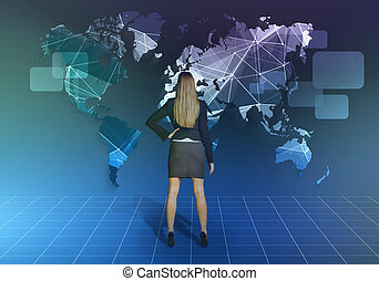 Girl stands in front of the network world map