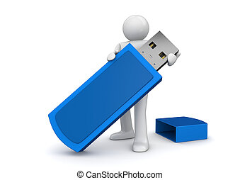 Man with flash drive - 3d isolated on white background...