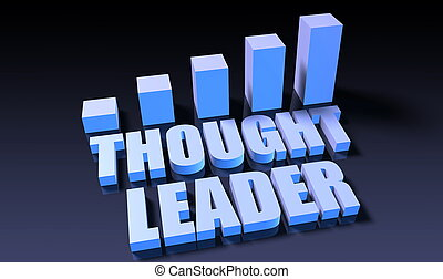 Thought leader graph chart in 3d on blue and black