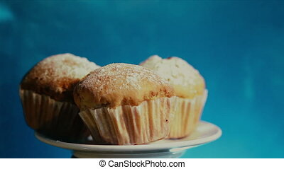 a plate of cupcakes - a plate of muffins sprinkled with...