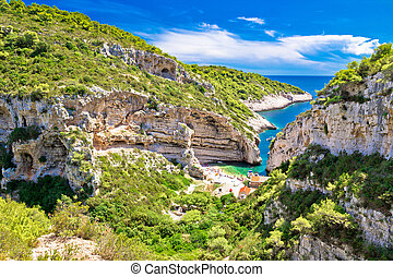 Scenic beach of Croatia on Vis island, Stinva bay