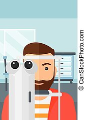 Patient visiting ophthalmologist. - A hipster man with the...