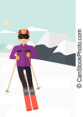 Young man skiing - Young man skiing on the background of...