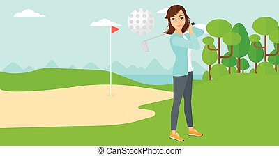 Golf player hitting the ball. - A woman hitting the ball on...